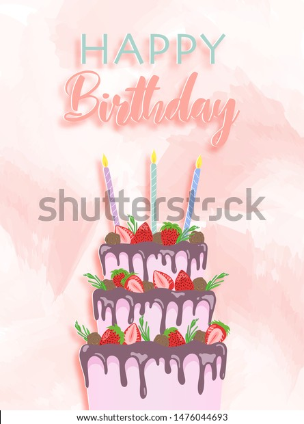 Fabulous Drawing 3 Tier Birthday Cake Pastel Stockvector Rechtenvrij Funny Birthday Cards Online Elaedamsfinfo