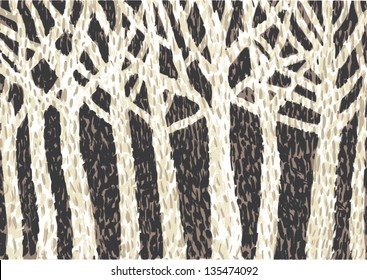 drawing of abstract birch forest made with dots
