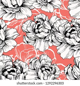 drawing abstract graphic design line ink, living coral textile