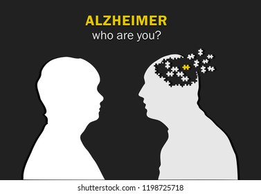 drawing for the Alzheimer, the silhouette of a woman and a man who loses his head like his a puzzle outside