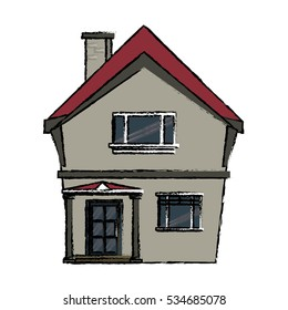 drawing american house domestic chimney