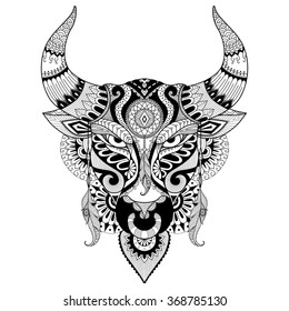 Drawing angry bull for coloring book for adult,tattoo,T- shirt design and other decorations