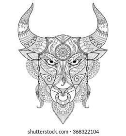 Drawing angry bull for coloring book,tattoo,logo,T shirt design and other decoration