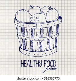 Drawing Apples Basket On Notebook Page Background Ballpoint Fruit Sketch Healthy Food Forever