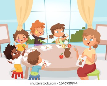 Drawing art class. Teacher with kids creativity kindergarten art lesson vector cartoon background