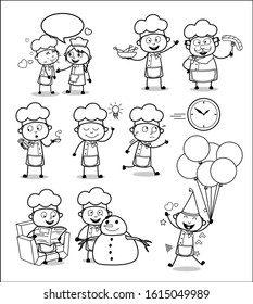Drawing Art of Comic Chef - Set of Concepts Vector illustrations