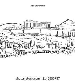 Drawing of Athens acroplolis. Hand-drawn vector sketch of the famous parthenon.