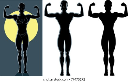 Drawing of an back lighted of a female bodybuilder