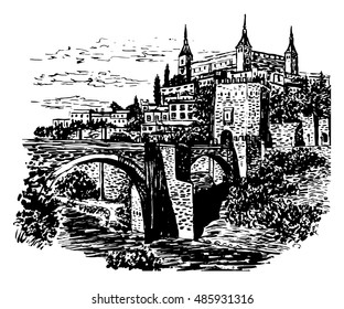 drawing background landscape view of the Tagus river, bridge and castle in the city of Toledo, Spain, sketch hand drawn vector illustration