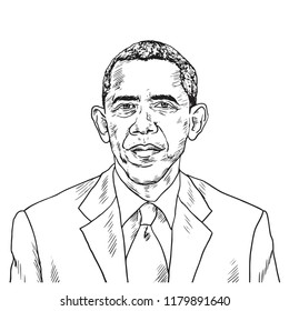 Drawing of Barack Obama. Vector Caricature Illustration Drawing. September 15, 2018
