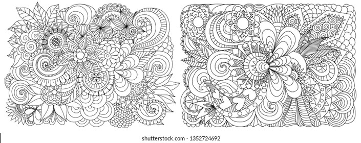 Drawing of beautiful flowers for background, engraving,wall sticker and adult coloring book or coloring page. Vector illustration.