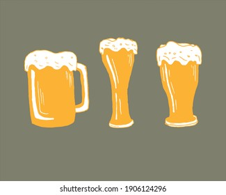 Drawing of Beer glass and  beer pin vector illustration
