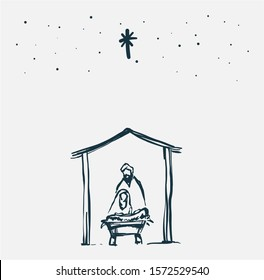 Drawing, Bible Merry christmas scene of holy family. Vector