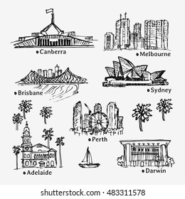 Drawing big Australian cities. Hand drawn sketch collection of famous cities.
