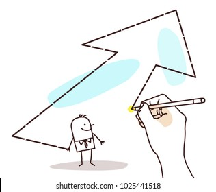 Drawing Big Hand - Cartoon Businessman and Big Arrow