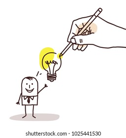Drawing Big Hand - Cartoon Businessman with Light Bulb