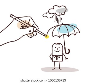 Drawing Big Hand - Cartoon Man with Umbrella