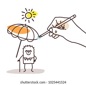 Drawing Big Hand - Cartoon Old Man with Parasol