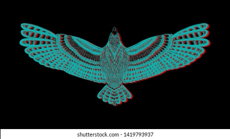 The drawing  bird with chromatic aberration on the black background. Pop art. The symbol of freedom. to be used for print t shirt, tattoo art, zentangle, coloring book pages.