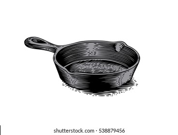 Drawing of black empty cast iron pan