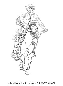 Drawing black and white of cowboy riding horse,vector illustration.