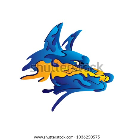 Drawing Blue Wolf Head Orange Line Stock Vector Royalty Free