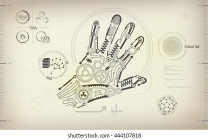 drawing blueprint of scientific hand, robot hand diagram, mechanic human hand, abstract technology, abstract science