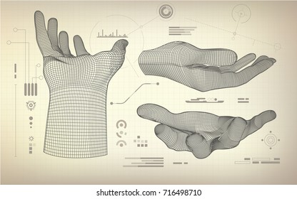 drawing blueprint of wireframe hand; scientific interface; abstract technology background;
