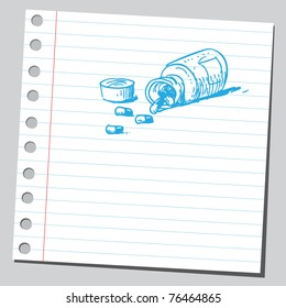 Drawing of a bottle of pills