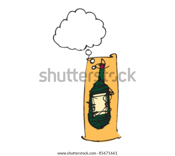 drawing of a bottle with speech bubbles