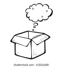 Drawing of box with thought bubble