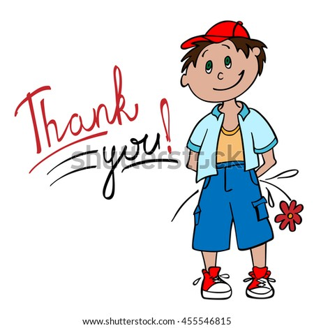 drawing boy flower says thank you stock vector royalty free