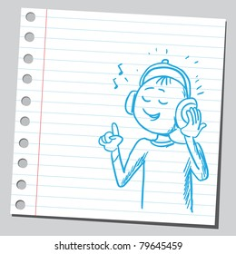 Drawing of a boy listening music