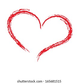Drawing with a brush in the shape of heart, love symbol on white background, vector illustration