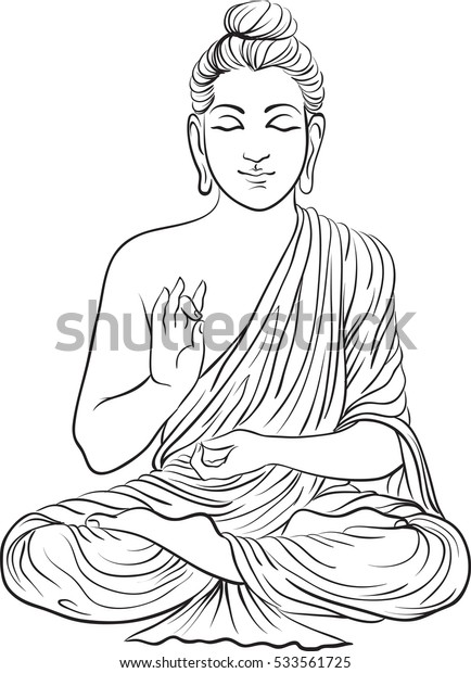 Drawing of a Buddha statue. Art vector illustration of Gautama. Buddhism Religion
