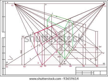 Drawing Buildings Perspective Auto Cad Vector Stock Vector Royalty