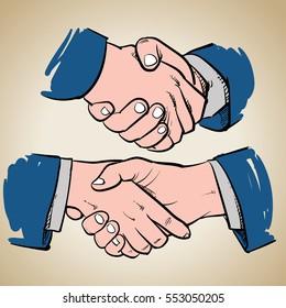 Drawing Business handshake on vintage background. Successful people handshaking vector illustration. Business success.
