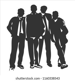 drawing of business team.Vector illustration.