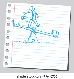 Drawing of a businessman on a seesaw