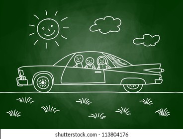 Drawing of car on blackboard