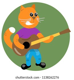 Drawing, caricature, collage. A cat with a guitar sings a brutal song. Cat, fashionable, well-groomed) in the States and t-shirt