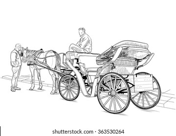 Drawing carriage with a horse and two men