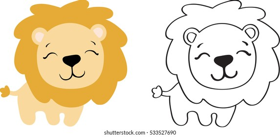 drawing of a cartoon cute toy lion - in color and line art