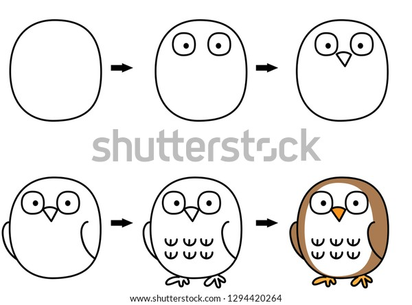 Drawing Cartoon Owl Step By Step Stock Vector Royalty Free 1294420264