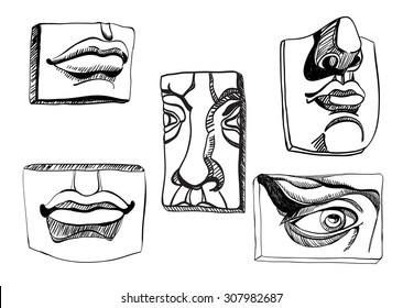Drawing casts for art study. Classical plaster casts nose, eye, mouth, nose and lips in vector. Ink imitation.