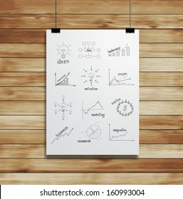 Drawing charts and graphs business strategy plan concept idea on white paper clips and wood background, Vector illustration layout template design