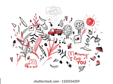 Drawing of the child to the mother's day vector pattern line-art monochrome, monochrome with a red accent. Berries are beetles of pears and apples. Children's cute drawing. truck with fruit, machine