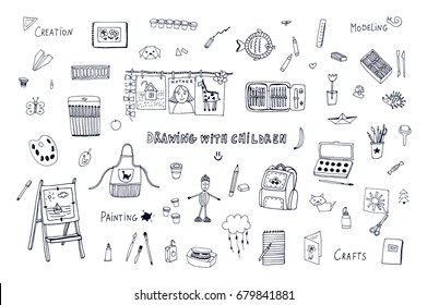 drawing with children lesson school objects outline vector doodle set