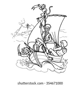 drawing children playing pirate with a monkey on a sailing boat. Eps-8