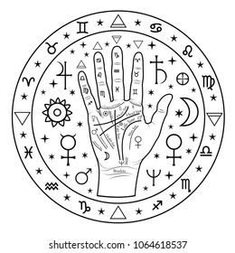 Drawing with chiromancy of the hand, lines, planets and symbols. Palmistry.